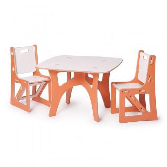 Sprout KT2C001-ORN_WHT Kids Table with 2 Chairs, Orange/White